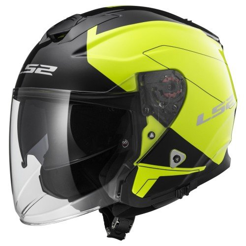 LS2 Casco Moto Of521 Infinity Beyond, Black Hi-Vis Yellow, L