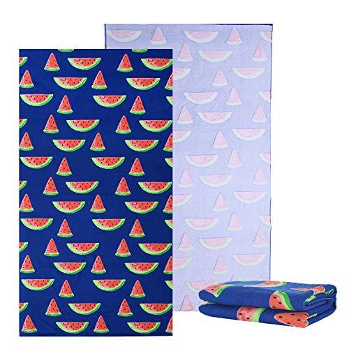 NovForth Mikrofaser-Strandtuch, groß, Stranddecke, Handtuch, Ultra-weich, super-wasserabsorbierend, Mehrzweck-Überwurf, Reisehandtuch, Übergröße 76,2 x 152,4 cm, Wassermelone, 30