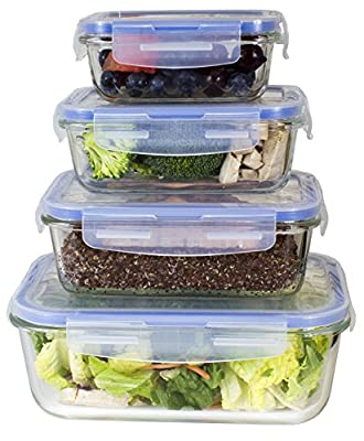 Misc Home [Premium 4 Sets Glass Meal Prep Food Storage Container With Snap Locking Lid, Glass Meal Prep Containers Bpa-Free, Microwave, Oven, Freezer, Dishwasher Safe (62 Oz, 28 Oz, 19 Oz, 11 Oz.) from Misc Home