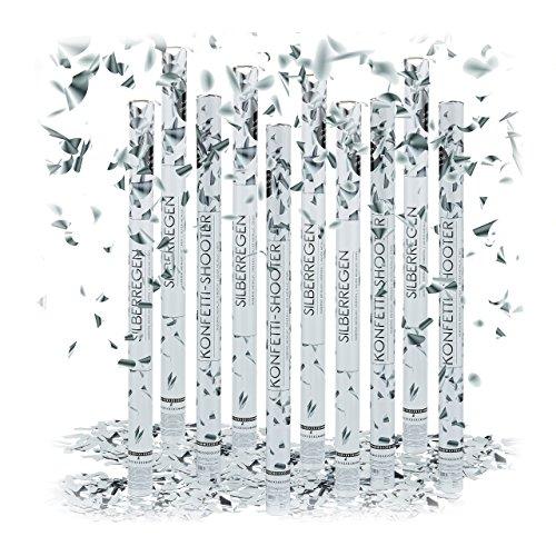 10 x Party Popper 80 cm im Konfettikanonen Set, Konfetti Bombe für Hochzeit und Geburtstag, Konfetti Shooter 6-8 m Effekthöhe, silber metallic