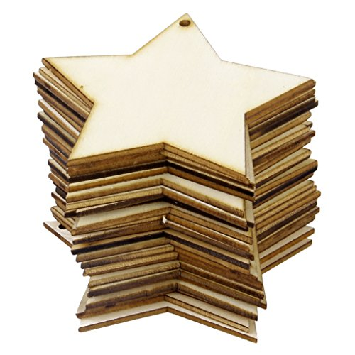 Foto de Phenovo 25pcs Adornos Madera Forma Estrella para Arte DIY Talla 8x8cm