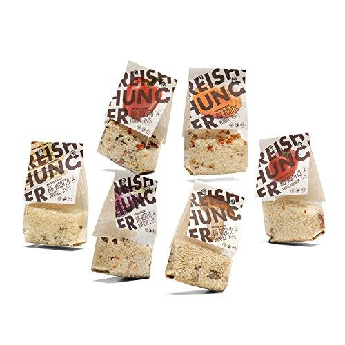 Reishunger Bio Risotto-Fertigmischungen im Set - 6 verschiedene Sorten - Spargel, Kürbis, Tomate & Basilikum, Aubergine, Steinpilz, Paprika