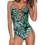 SHOBDW Damen Floral Design Bikini Trendigen BH Kleidung Frauen Gedruckt Bikini Badeanzüge Bademode Drucken blätter Treiben Gepolsterte Baden Badeanzug Beachwear