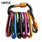 Firlar 10pz chiusura a moschettone, in lega di alluminio moschettone a molla, D-Ring Key Chain clip Hook for camping hiking traveling (non per arrampicata)