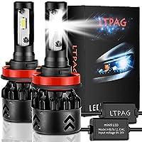 LTPAG 2pcs H8/H9/H11 LED Faros Delanteros Bombillas, 72 W 12000LM 6000K Bombillas LED Coche Kit IP68 Impermeable LED Lámparas, Blanco Frio