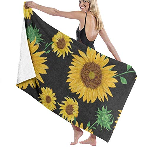 xcvgcxcvasda Serviette de bain, Summer Floral Flower Sunflower Brown Personalized Custom Women Men Quick Dry Lightweight Beach & Bath Blanket Great for Beach Trips, Pool, Swimming and Camping 31