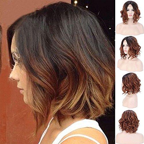 Natürliche Wellen Haar synthetische Lace-Front-Perücke für Damen, Bob, volle Perücken Schwarz Ombre-braunen Wurzeln, halb gebunden, mit sicherer, 14cm -