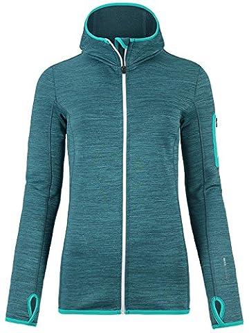 Ortovox Melange Hooded Womens Fleece Large Aqua Blend
