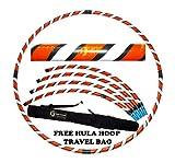 Pro Hula Hoop Reifen Erwachsene (Schwarz/Weiß/Orange) Zerlegbarer 4 piece Travel Hula Hoop für Training u. Tanz HoopDance - Größe 100cm, Gewicht 650g