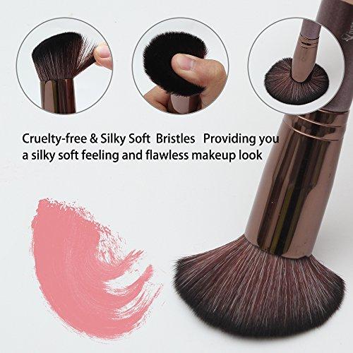 Qivange Vegan Makeup Brushes, Kabuki Makeup Brush Set Foundation Blending Eyeshadow Concealer Powder Makeup Brush Kit(10pcs Coffee Gold)