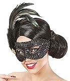 Das Kostümland Augenmaske Francesca mit Federn Schwarz - Wunderschönes Accessoire zum Faschingskostüm