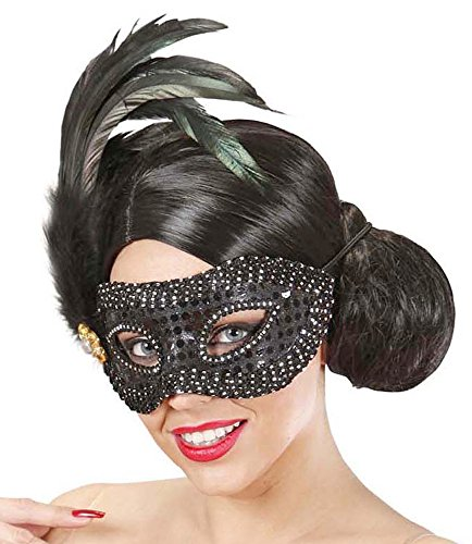 mit Federn Schwarz - Wunderschönes Accessoire zum Faschingskostüm (Ursprung Des Halloween-maske)