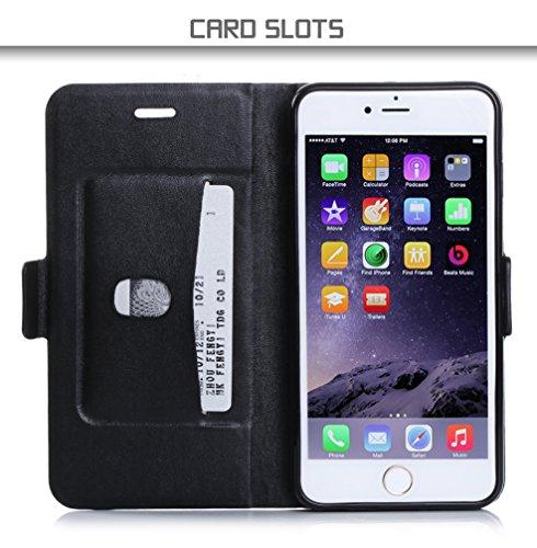 iphone 6s plus Coque , Coque iphone 6 plus, Fyy® [Séries Haut de gamme] Étui Luxueux en Cuir PU avec Coverture Toute-Puissante pour iPhone 6S Plus/6 Plus (5.5 pouces) Orange + Or B-Noir & Or