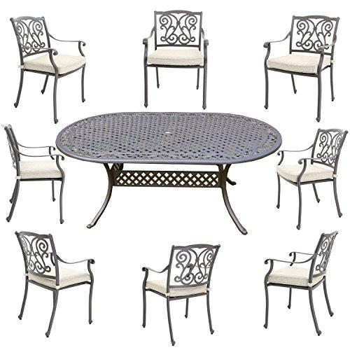 Hanseatisches Im- & Export Contor GmbH Meubles de Jardin en Fonte  d\'aluminium, Meubles de Jardin Comprenant Table de Jardin chaises Jardin  Ovaler ...