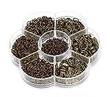1450 piezas caja conjunto de anillos de salto abierto joyería Kit de joyería Conectores Cadena Enlaces Set para DIY Arcilla Joyería Hacer hendiduras 4-10 mm assorted size Antique Bronze