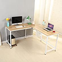 Señor Ironstone moderno en forma de L para esquina escritorio de ordenador PC Latop estudio mesa estación de trabajo oficina en casa madera y metal (teca)