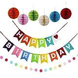 CALSAM Happy Birthday Party Banner de Fieltro para decoración Tejido Pom Pom Pelotas
