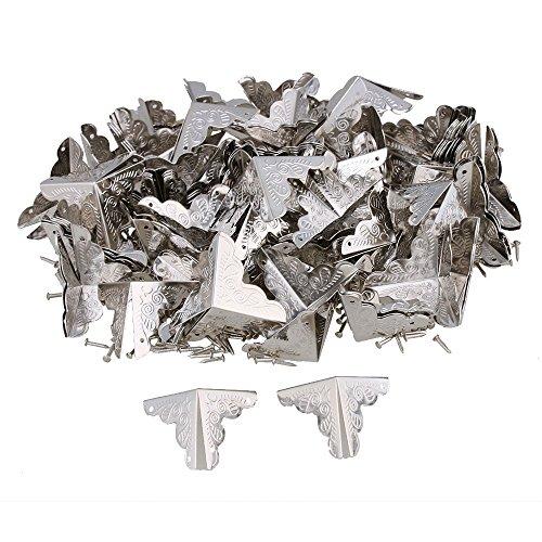 Bqlzr coperture per bordi angolari, dimensioni 25 mm x 25 mm x 25 mm, in argento, a tre lati. stile vintage, per scrivania, elegante effetto decorativo, pacchetto da 100 pezzi