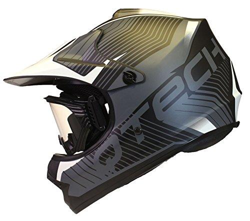 KINDER cross HELM und Schutzbrille Goggles MX BMX Quad ATV Motorradhelm Motorrad - Weiß - L (57-58cm)