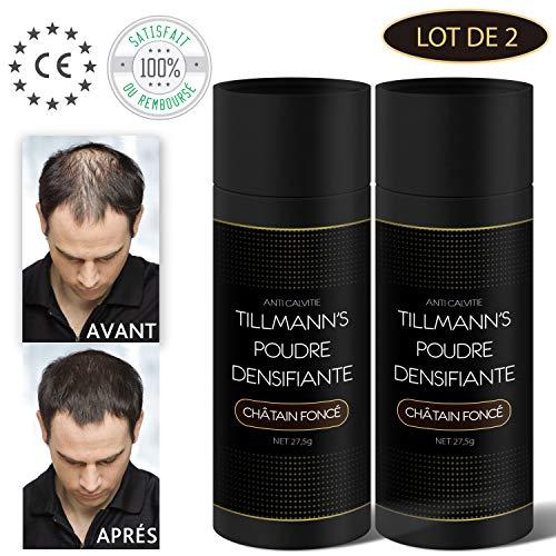 Poudre Cheveux Homme et Femme/Poudre Densifiante Barbe/Cache la Calvitie 27,5 Gr-Châtain Foncé-Brun (2 Bouteilles)