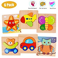 MerryNine Wooden Puzzle Set for 1 2 3 Year Olds, 6 Pack Wooden Jigsaws Puzzles Educational Toys for Boy Girl Kids, Wooden Puzzles for Toddlers Baby