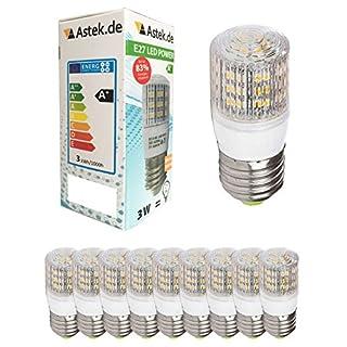 10er-Pack E27 48 LED mit Schutzglas [ASTEK X11] (280lm - Warm-Weiß - 48 SMD LED - 360º Abstrahlwinkel - E27 Sockel - 230V AC - 3,5W wie 25W - Ø31×76mm - 10 Stk.)