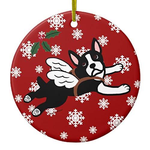 Yilooom Boston Terrier Angel Cartoon Snowflakes Hanging Decoration Ornament Special Keepsake Art Display - 3