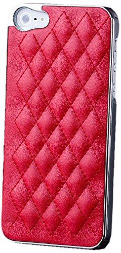 Apple iPhone SE / 5S / 5 | iCues cas robinet chromé Argent / Turquoise | [Protecteur d'écran, y compris] cuir chrome - faux de protection Housse Housse de protection Coque Housse Sac Étui Case Cover AEGENTO rosso