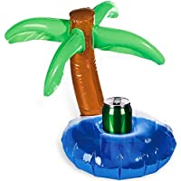 Inflatable Beverage Can Holder Island With Palm Tree Drink Summer Bath Swimming Pool Beer Toy Boat Home Floating Hot Tub