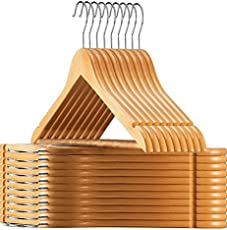 High Grade Natural Wooden Hangers – 6-pack - Solid Wood Suit Hangers With Extra Smooth Finish, 360 Degree Swivel Hook Non-Slip Bar and Precisely Cut Notches for Coats, Jacket, Pants, and Dress Clothes[Pack of 6]