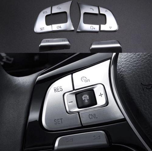 Emblem Trading Multifunktions Tasten Blende Mittelkonsole Armaturenbrett Verkleidung ABS Kunststoff Chrom Matt Passend Für Tiguan 2 AD1 (Tiguan Lenkrad)