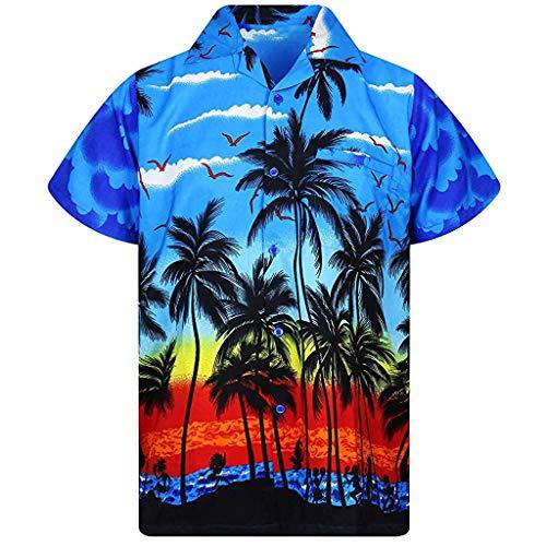 T-Shirt Herren Hawaii Hemd Kurzarm Flamingos Aloha Party Shirt Palm Strand Drucken Shirts Beiläufig Taste schnell trockene Bluse Sommerkleid Blau Shirt