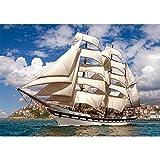 Unbekannt Puzzle 500 Teile - Tall Ship Leaving Harbour - Segelschiff Hafen - Mittelmeer Paradies Segel Yacht Karibik - Schiff Segeln Stadt Küste Strand Insel - Dreima..