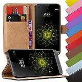 EximMobile - Book Case Handyhülle für LG G2 mit Kartenfächer | Schutzhülle aus Kunstleder | Handytasche als Flip Case | Cover in Gelb | Handy Tasche | Etui Hülle Kunstledertasche