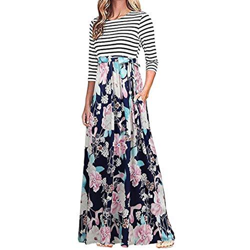 (TEBAISE Sommer Herbst Räumungsverkauf Frauen Reisen Dating Tasche Schlank Floral Tank Maxi Kleid Tasche Kurzarm Casual Sommer Langes Kleid(Blau,EU-40/CN-L))