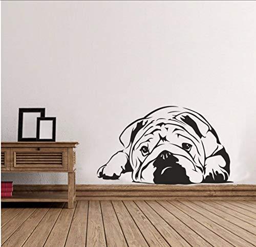 Lvabc Faule Bulldogge Niedlichen Hund Kunst Wandaufkleber Ausgangsdekor Wohnzimmer Pet Puppy Wandtattoo Pet Shop Fenster Poster Tier Aufkleber 42X24 Cm (Halloween Wallpaper Puppy)