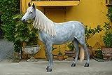 Appaloosa Pferd mit Echthaarmähne mit Bodenbefestigung (Metalllaschen) lebensgroß 219cm für draußen aus Hochwertiger Glasfaserkunststoff (GFK)