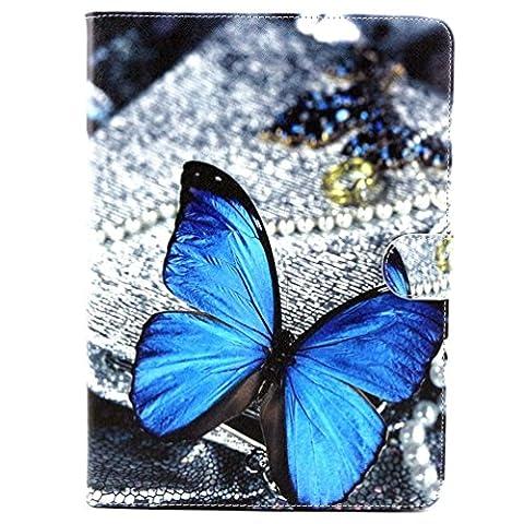 """Etui Samsung Tab 4 10.1"""" - Folio Housse Multi-angles Stand Supporter Magnétique Etui à Rabat Coque en Cuir Smart Cover Case pour Tablette Samsung Galaxy Tab 4 10.1 Pouces T530 T531-Papillon bleu"""