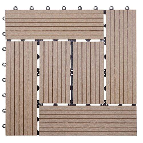 Mendler WPC Bodenfliese Rhone, Holzoptik Balkon/Terrasse, 11x je 30x30cm = 1qm ~ Basis, Teak versetzt