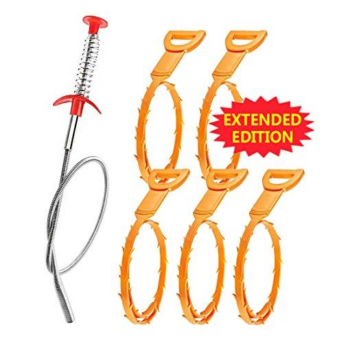 5+1 Drain Cleaner Sticks Clog Reinigungs-Tools 23,6 Zoll Spring Pipe Dredging-Tools Haushalt Haarreiniger für Küchenspüle, Bad Wanne, WC für einen Einsatz (5 Kunststoff + 1 Edelstahl)