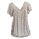 NEEKY Bedrucktes Top-Peeling für Frauen - Damen Plus Size Kurzarm V-Ausschnitt Bluse Pullover Tops Shirt