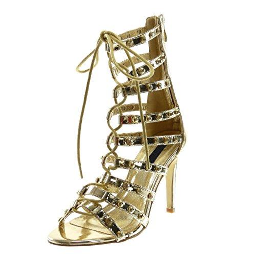uhe Stiefeletten Sandalen - Stiletto - Hohe - Römersandalen - Multi-Zaum - Nieten - besetzt - Strass Stiletto high Heel 10 cm - Gold L6102 T 38 ()