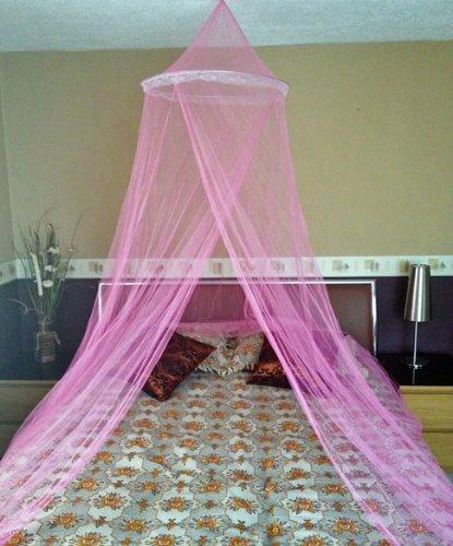 A-Express Moskitonetz Baldachin Mückennetz Betthimmel mit Einem Eingang romantischer Schutz vor Insekten Schlafzimmer Fliegennetz 2.5m Höhe x 10m Rund - Rosa