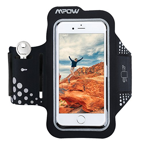 Mpow Brazalete Deportivo para Moviles iPhone 7 6 6S Antideslizante Contra Sudor, Mpow Banda para Brazo con Bolsillito de LLaves,Bolsillito de Auricular Material de Neopren, para iPhone 7 6 6s, Samsung, Huawei, Bq x5, HTC, LG,etc.Compatible with any phone that has a screen up to 5.2 ''