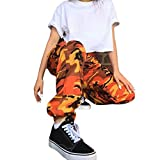 Lenfesh Damen Camouflage Hose Mädchen Military Hose Hip Hop Jogger Trainingshose (S, Orange)