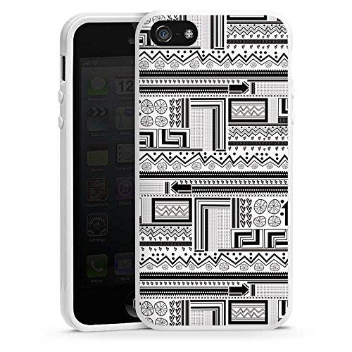Apple iPhone 5s Housse Outdoor Étui militaire Coque Style ethnique Style ethnique Abstrait Housse en silicone blanc