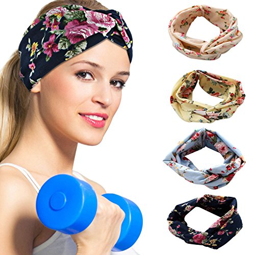 DAMIGRAM 4 Pack Headbands Vintage Elastic Printed Head Wrap Stretchy Moisture Floral Print Cotton Haiband Cute Hair Accessories for Women Girl