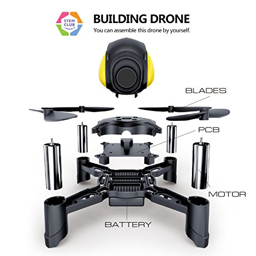 Maxxrace Rc STEM toys DIY Mini Racing Drone Headless Mode 2.4Ghz Nano LED RC Quadcopter Altitude Hold Good for beginners- Black Remote control drone and Building toys for kids