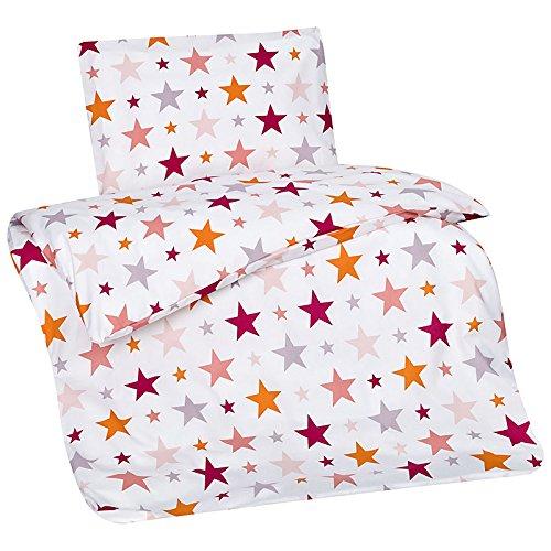 Aminata – Bettwäsche Baumwolle + Reißverschluss Sterne Rosa Pink Orange Weiß | verschiedene Größen | Bettbezug Sternchen Stern Stars Wendebettwäsche Bettwäscheset Bezug Ganzjahr Normalgröße Mädchen