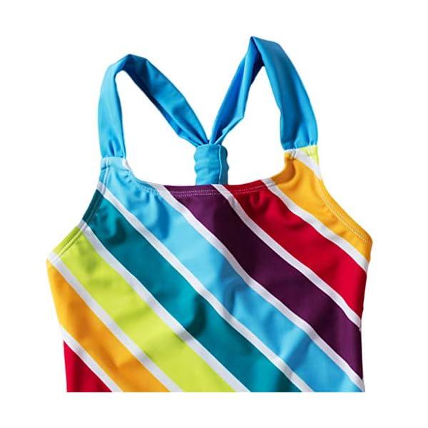 Heetey - Traje de baño para niña, Bikini para niña, diseño de Rayas Multicolor con triángulo y Hombros Anchos 4